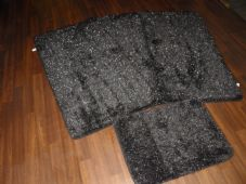 ROMANY GYPSY WASHABLES SPARKLY SETS OF 4PCS MATS/RUG BLACK/SILVER NON SLIP NEW